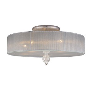 "Alexis Collection 5-Light 23"" Antique Silver Semi-Flush Mount with Blown Crackled Glass 20006/5"