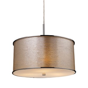 "Fabrique Collection 3-Light 8"" Polished Chrome Pendant Silver Streak finish Fabric Shade 20043/3"