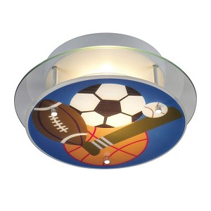 Kid's Lighting Novelty Collection 2-Light 13'' Sports Theme Flush Mount Ceiling Light 21005/2 SKU# 479875