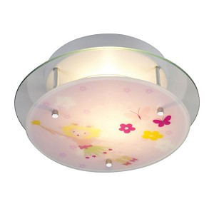 Kid's Lighting Novelty Collection 2-Light 13'' Pink Flowers Flush Mount Ceiling Light 21008/2 SKU# 479878