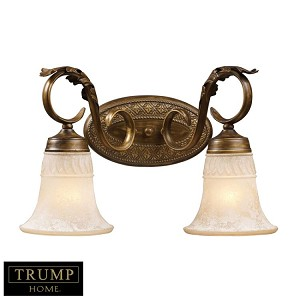"Trump Home Collection Briarcliff Series 2-Light 17"" Weathered Umber Wall Sconce with Amber Scavo Glass 2471/2"