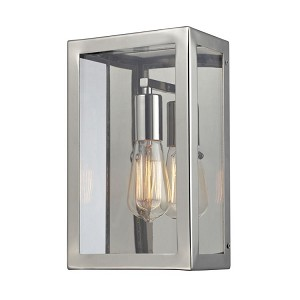 "Parameters Collection 1-Light 14"" Polished Nickel Wall Sconce with Clear Glass 31210/1"