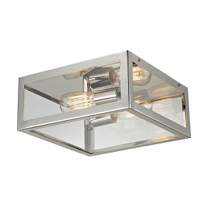 "Parameters Collection 2-Light 12"" Polished Nickel Flush Mount with Clear Glass 31211/2"
