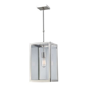 "Parameters Collection 1-Light 10"" Polished Nickel Pendant with Clear Glass 31211/2"