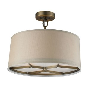 "Baxter Collection 3-Light 16"" Beige Fabric Drum Shaded Ceiling Mount 31262/3"