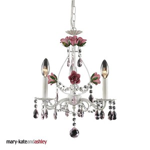 "Mary-Kate and Ashley Rosavita Series 3-Light 18"" Antique White Crystal Mini Chandelier 4053/3"