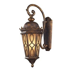 "Burlington Junction Collection 3-Light 27"" Hazelnut Bronze Outdoor Wall Lantern with Amber Scavo Glass 42002/3"