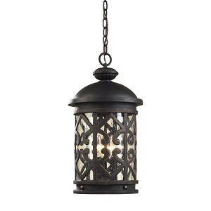 "Tuscany Coast Collection 3-Light 19"" Weathered Charcoal Outdoor Hanging Lantern with Clear Seeded Glass 42063/3"