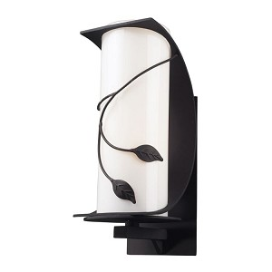 "Hedera Collection 1-Light 16"" Weathered Charcoal Outdoor Wall Sconce with White Glass 42071/1"