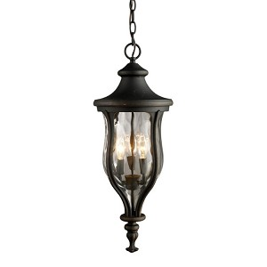 "Grand Aisle Collection 3-Light 24"" Weathered Charcoal Outdoor Hanging Lantern with Water Glass 42254/3"