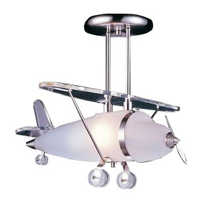 Kid's Lighting Novelty Collection Airplane Semi-Flush Ceiling Fixture 5051/1