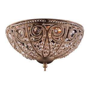 "Elizabethan Collection 3-Light 13"" Dark Bronze Crystal Flush Mount 5962/3"