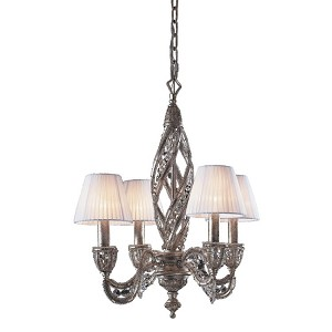"Renaissance Collection 4-Light 22"" Sunset Silver 32% Lead Crystal Mini Chandelier with Fabric Shades 6235/4"