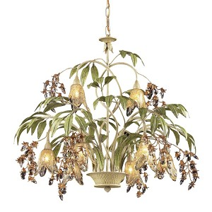 "Huarco 8-Light 28"" Seashell Chandelier with Amber Glass 86054"