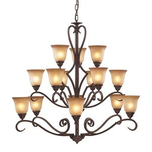 "Lawrenceville Collection 15-Light 44"" Mocha Chandelier with Antique Amber Glass 9330/6+6+3"