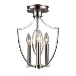 "Dione Collection 3-Light 17"" Polished Nickel Mini Chandelier 10119/3"