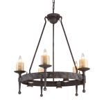 "Cambridge Collection 10-Light 34"" Moonlit Rust Chandelier with Stone Candle Covers 14005/5+5"