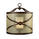 "Cumberland 1-Light 16"" Classic Bronze Wall Sconce with Amber Organza Drum Shade 14050/1"