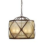 "Cumberland 6-Light 26"" Classic Bronze Pendant with Amber Organza Drum Shade 14052/6"