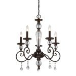 "Trier Collection Aged Bronze 5-Light 23"" Chandelier 14072/5"