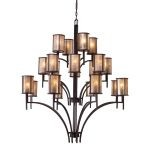 "Barringer Collection 20-Light 59"" Aged Bronze Foyer Chandelier with Mica Shades 15037/8+8+4"