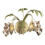"Huarco 1-Light 16"" Seashell Sage Wall Sconce with Amber Glass 16050"