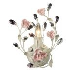 "Heritage Collection 1-Light 12"" Cream Crystal Wall Sconce with Porcelain Roses 18093/1"