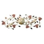 "Heritage Collection 3-Light 27"" Cream Crystal Bathroom Vanity Fixture with Porcelain Roses 18094/3"