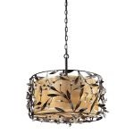 "Circeo Collection 3-Light 20"" Deep Rust Floral Drum Pendant with Crystal 18132/3"
