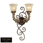 "Trump Home Regency Series 2-Light 13"" Burnt Bronze Wall Sconce with Caramel Amber Glass 2155/2"