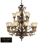 "Trump Home Regency Series 15-Light 45"" Burnt Bronze Chandelier with Caramel Amber Glass 2166/10+5"