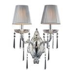 "Princess Collection 2-Light 17"" Polished Silver Crystal Wall Sconce with Silk String Shades 2392/2"