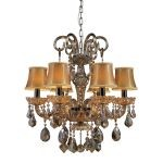 "Jolianne Collection 6-Light 26"" Tan Crystal Chandelier with Black Chrome Accents 24001/6"