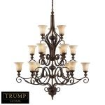 "Trump Home Collection Briarcliff Series 15-Light 58"" Weathered Umber Chandelier with Amber Scavo Glass 2481/6+6+3"
