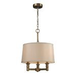 "Baxter Collection 3-Light 16"" Brushed Antique Brass Mini Chandelier with Beige Drum Shade 31264/3"