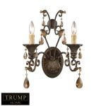 "Trump Home Rochelle Collection 2-Light 18"" Weathered Mahogany Wall Sconce with Amber Crystal 3341/2"