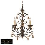 "Trump Home Rochelle Collection Weathered Mahogany 3-Light 24"" Amber Crystal Mini Chandelier 3343/3"