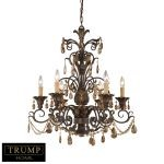 "Trump Home Rochelle Collection Weathered Mahogany 6-Light 31"" Amber Crystal Chandelier 3344/6"