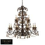 "Trump Home Rochelle Collection Weathered Mahogany 12-Light 31"" Amber Crystal Chandelier 3345/8+4"