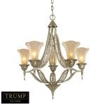 "Trump Home Chelsea Collection 5-Light 30"" Aged Silver Chandelier with Embedded Crystal and Elegant Glass 3826/5"