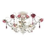 "Mary-Kate and Ashley Rosavita Series 2-Light 19"" Antique White Crystal Semi-Flush Mount 4052/3"