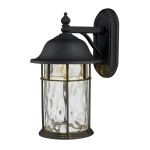 "Lapuente Collection 1-Light 14"" Matte Black LED Outdoor Wall Lantern with Water Glass 42260/1"