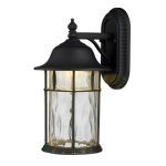 "Lapuente Collection 1-Light 17"" Matte Black LED Outdoor Wall Lantern with Water Glass 42261/1"