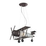 Kid's Lighting Novelty Collection 1-Light 20'' Walnut Bi-Plane Hanging Pendant 5084/1