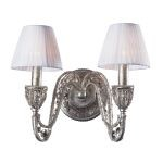 "Renaissance Collection 2-Light 14"" Sunset Silver 32% Lead Crystal Wall Sconce with Fabric Shades 6230/2"