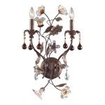 "Cristallo Fiore Collection 2-Light 24"" Deep Rust Crystal Wall Sconce 7043/2"