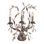 "Circeo Collection 3-Light 24"" Deep Rust Floral Wall Sconce with Crystal 8050/3"