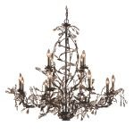 "Circeo Collection 12-Light 42"" Deep Rust Floral Chandelier with Crystal 8055/8+4"