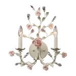"Heritage Collection 2-Light 18"" Cream Crystal Wall Sconce with Porcelain Roses 8090/2"