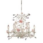"Heritage Collection 6-Light 22"" Cream Crystal Chandelier with Porcelain Roses 8092/6"